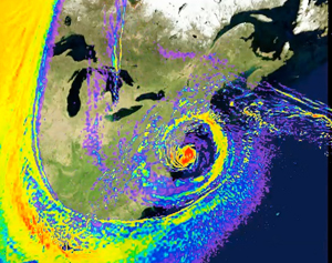 High-resolution simulation: Hurricane Sandy visualization