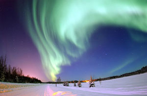 Space Climate Initiative: Green swirls of the Aurora Borealis